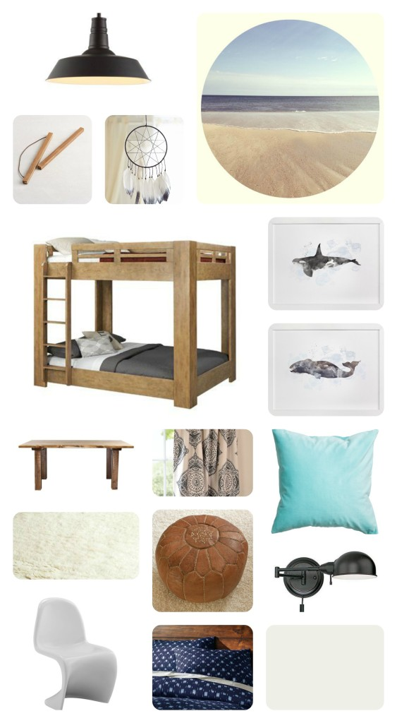 Modern Coastal Boy's Room Mood Board. Rustic Bunk Beds, Whale Art, Leather Pouf, Modern Kids Chairs and Indigo Bedding