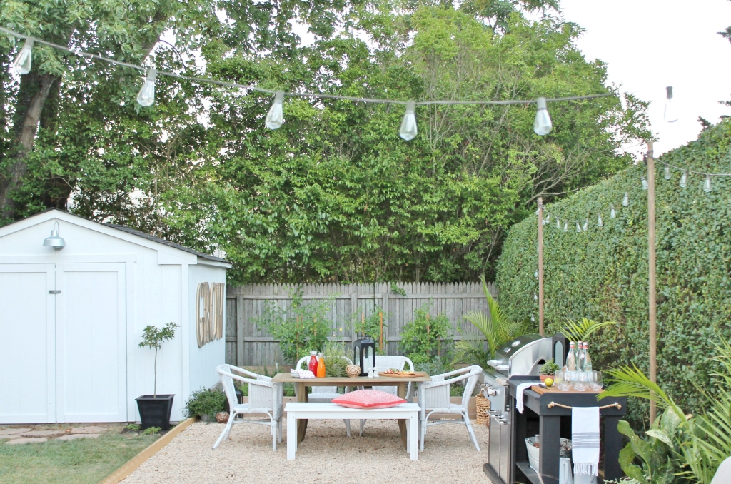 Backyard Reveal White Shed With Barn Light + Pea Gravel Patio