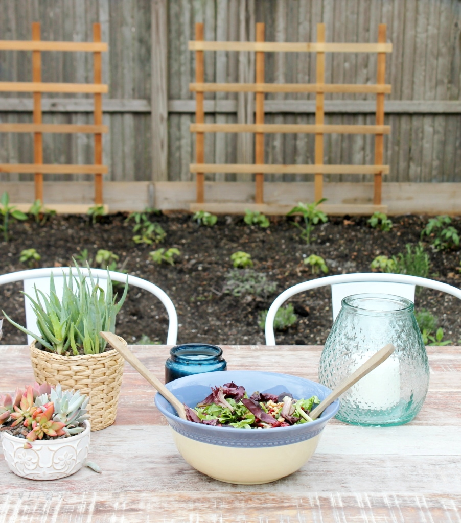 Patio Challenge Before & After With Joss & Main-Salad Bowl, Farmhouse Table & Herb Garden