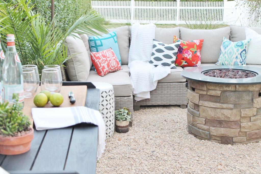 Hamptons Inspired Backyard Black DIY Bar + Gray Sectional With Bold Outdoor  Pillows