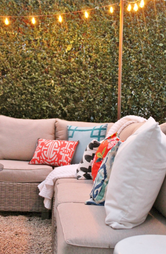 Outdoor Lights & Gray Wicker Sectional