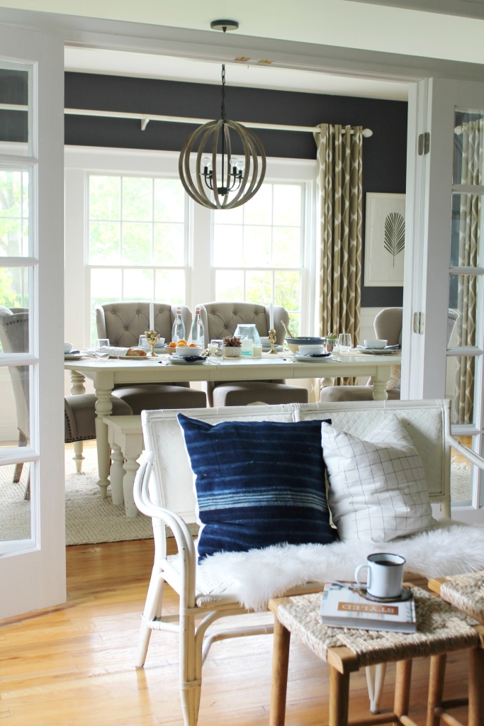 Summer Tour-Dining Room-Rattan Settee, Mudcloth Pillows & Target Stools 2