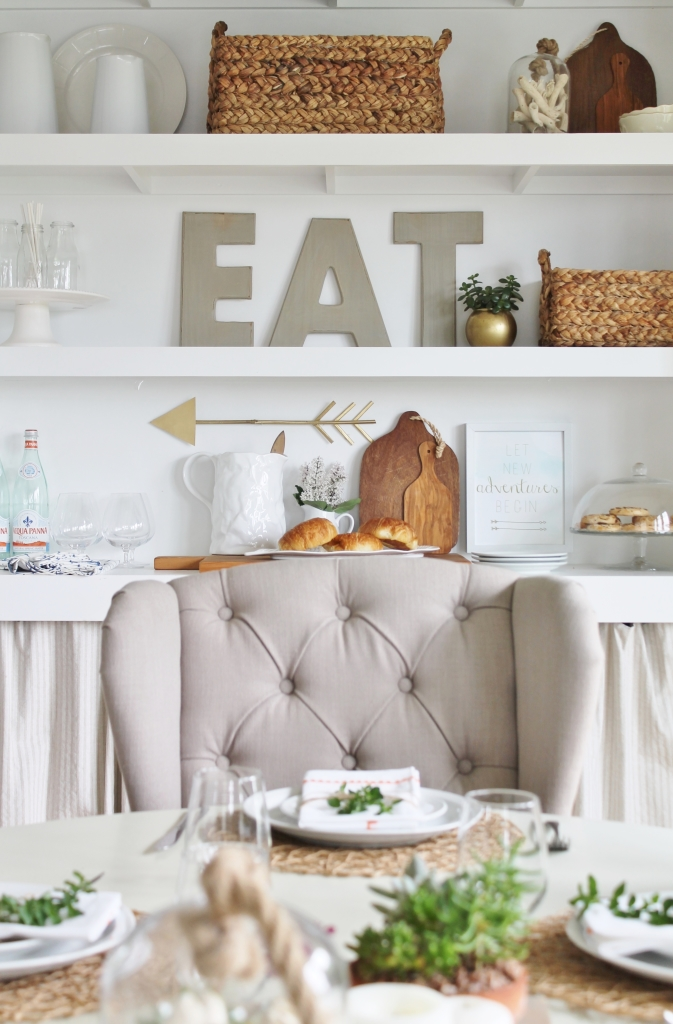 Design Series on You Tube-how to style open shelving. Modern Farmhouse summer dining room. Linen tufted dining chairs, diy cutting boards, baskets & tablescape with herbs and succulents