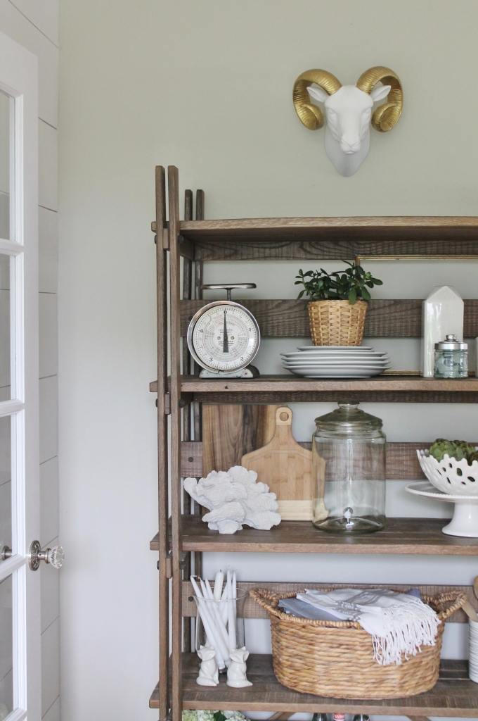 Summer Tour-Dining Room-Rustic Beachy Farmhouse Kitchen Shelves