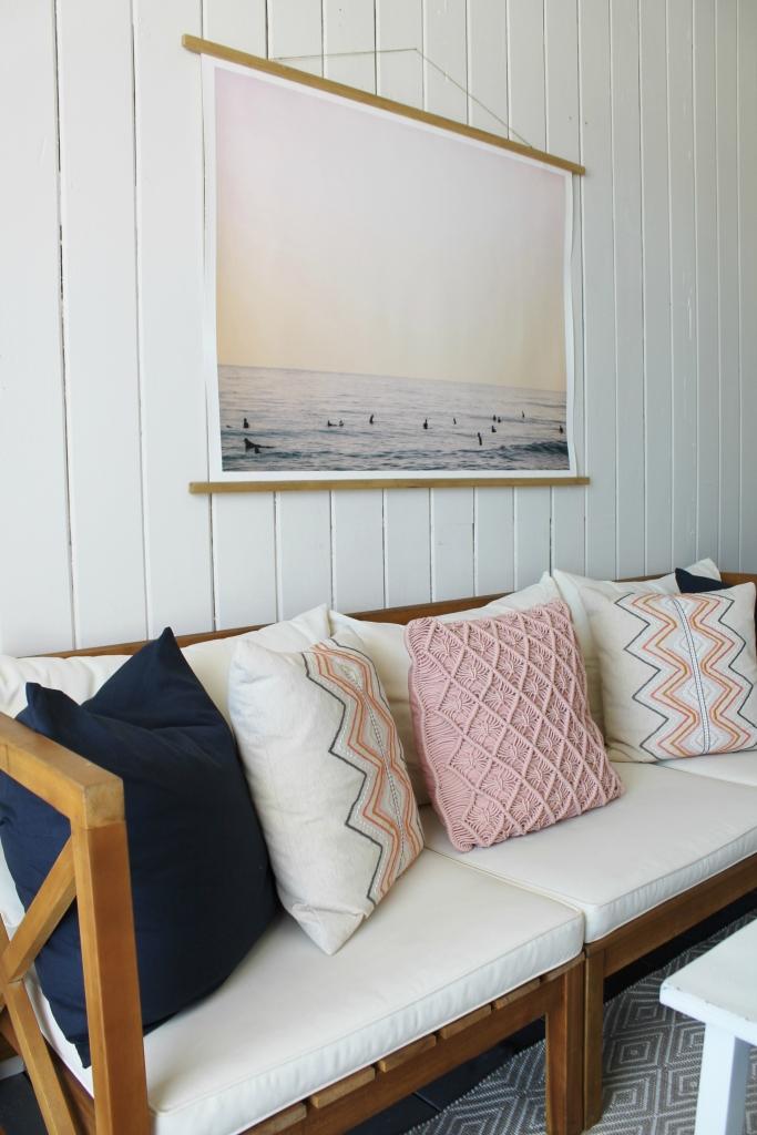 1 Beach Cabana -Outdoor Sofa & Surfing Print