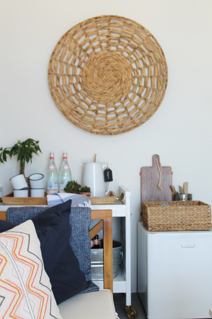 Beach Cabana -Organic Touches, Embriodered Pillows and Navy