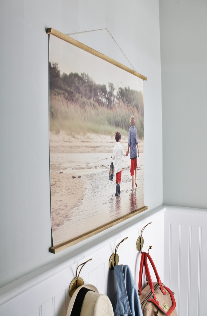 easy diy frame with large photo mudroom vignette copy - Diy Large Picture Frame