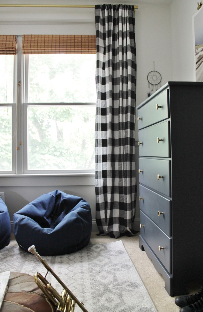 Rustic Boys Tween Room Makeover-Buffalo Check Curtains With Woven Blinds From ATG