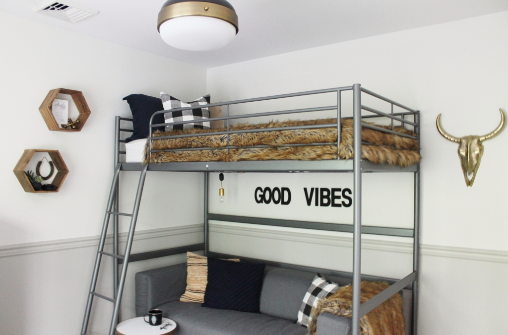 Rustic Boys Tween Room Makeover-Loft Bed + Couch