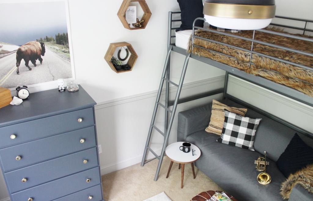 Rustic Tween Boys Room-Navy, Gray, Wood & White