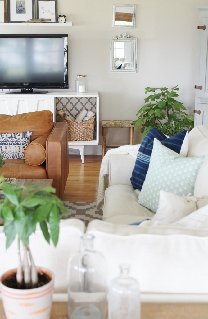 Summer Family Room-Layering in Tropicals Within a Neutral Space