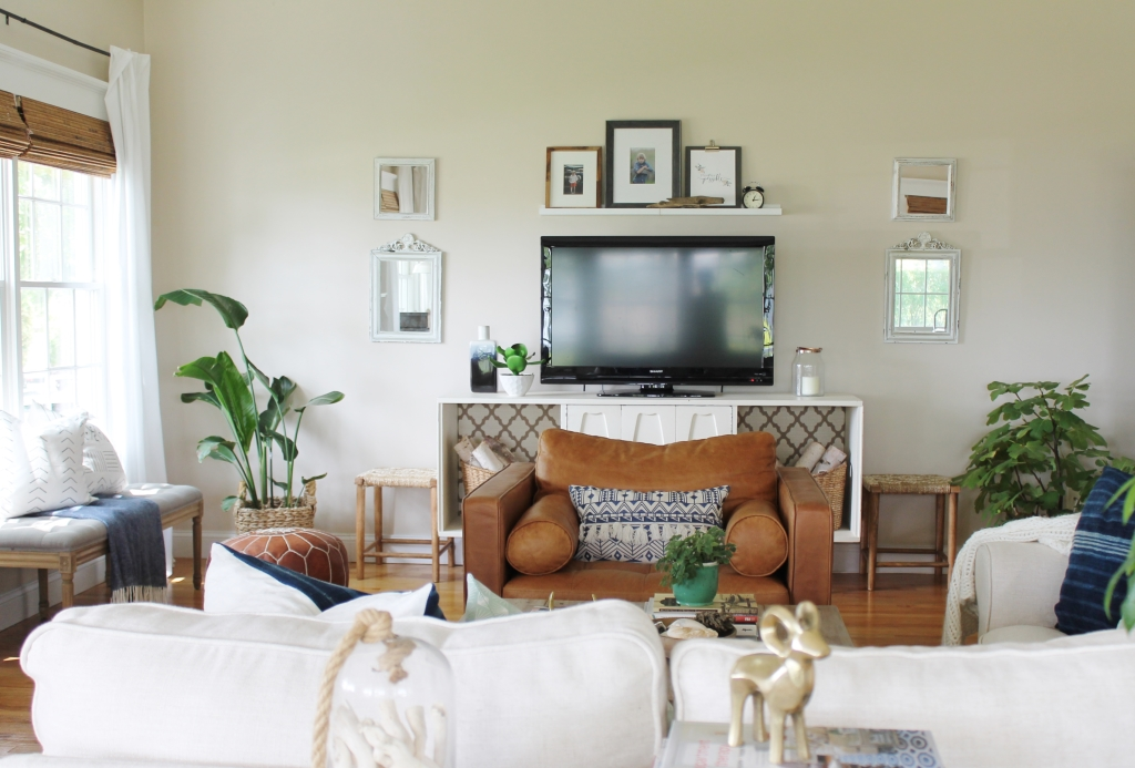 Summer Family Room-Neutral Space With Pops of Pattern & Blue - Copy