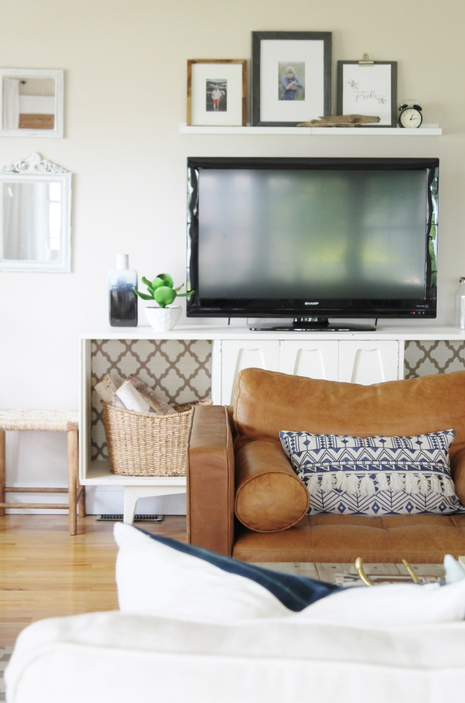 Summer Family Room-Neutral Walls, Linen Ikea Sectional & Leather Chairs From Article