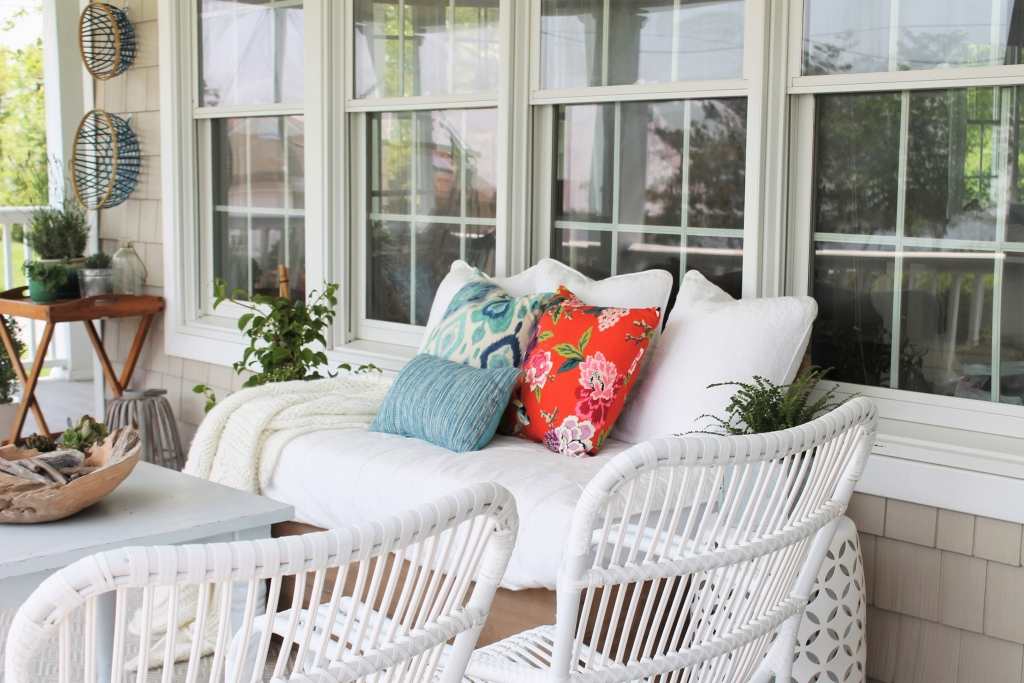 Summer Front Porch-DIY Sofa & Wicker Chairs