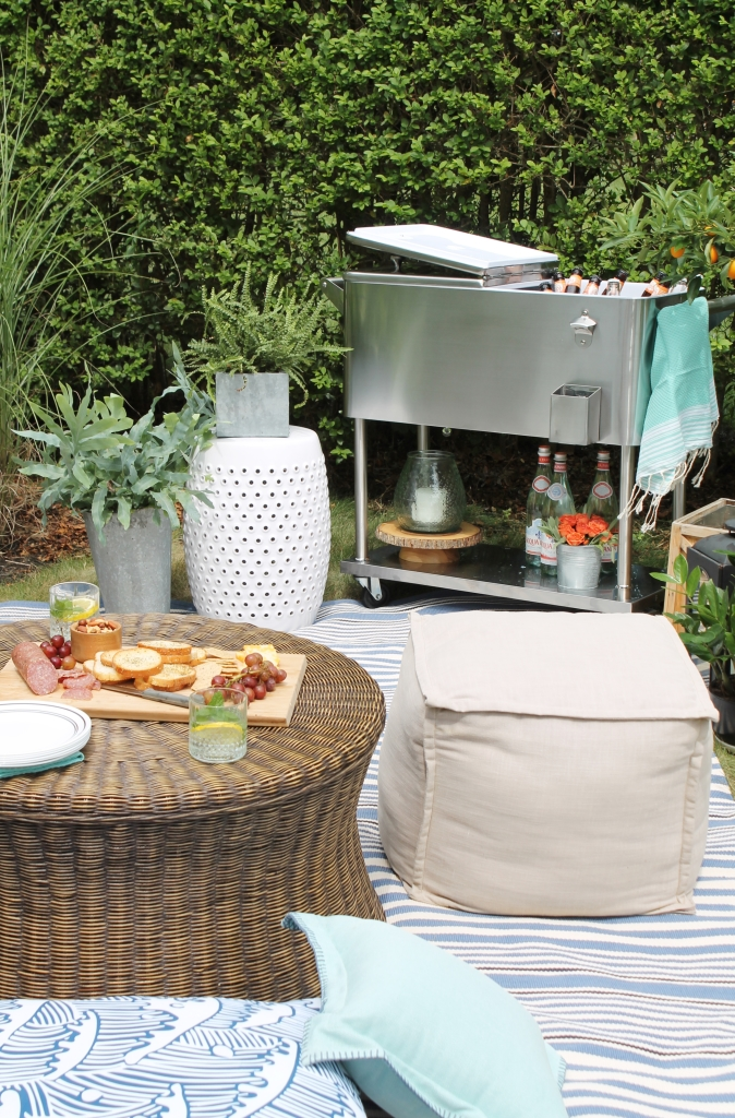 Backyard Summer Picnic Essentials-Add Floor Pillows and Small Poufs to Your Outdoor Space