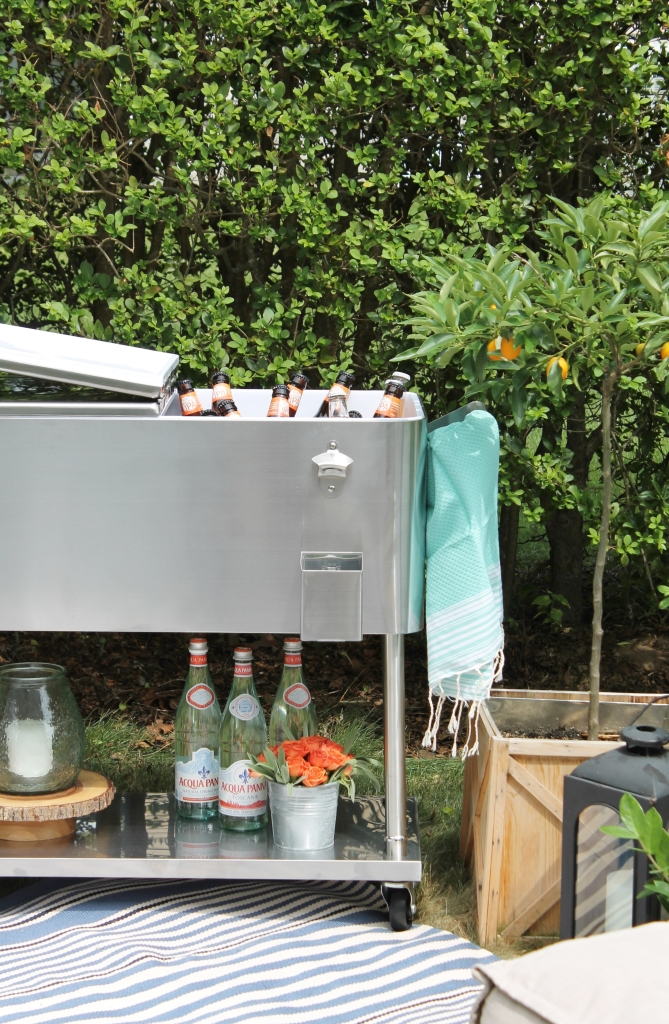 Backyard Summer Picnic Essentials-Rolling Bar Cart is Perfect For Entertaining