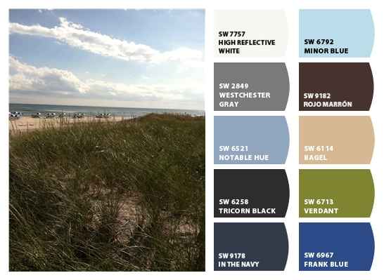 Sherwin-Williams Color Snap-Westchester Gray, Tricorn Black, In The Navy, Frank Blue