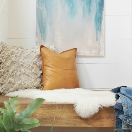 DIY Floating Bench + Modern Farmhouse Finish
