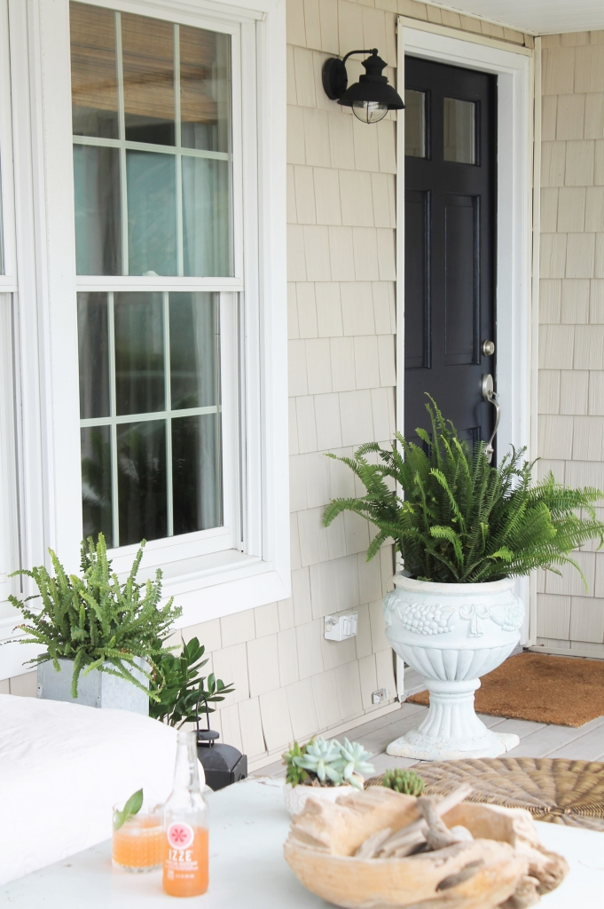 Front Door Makeover-Sherwin-Williams Anchors Aweigh & Front Porch Updates