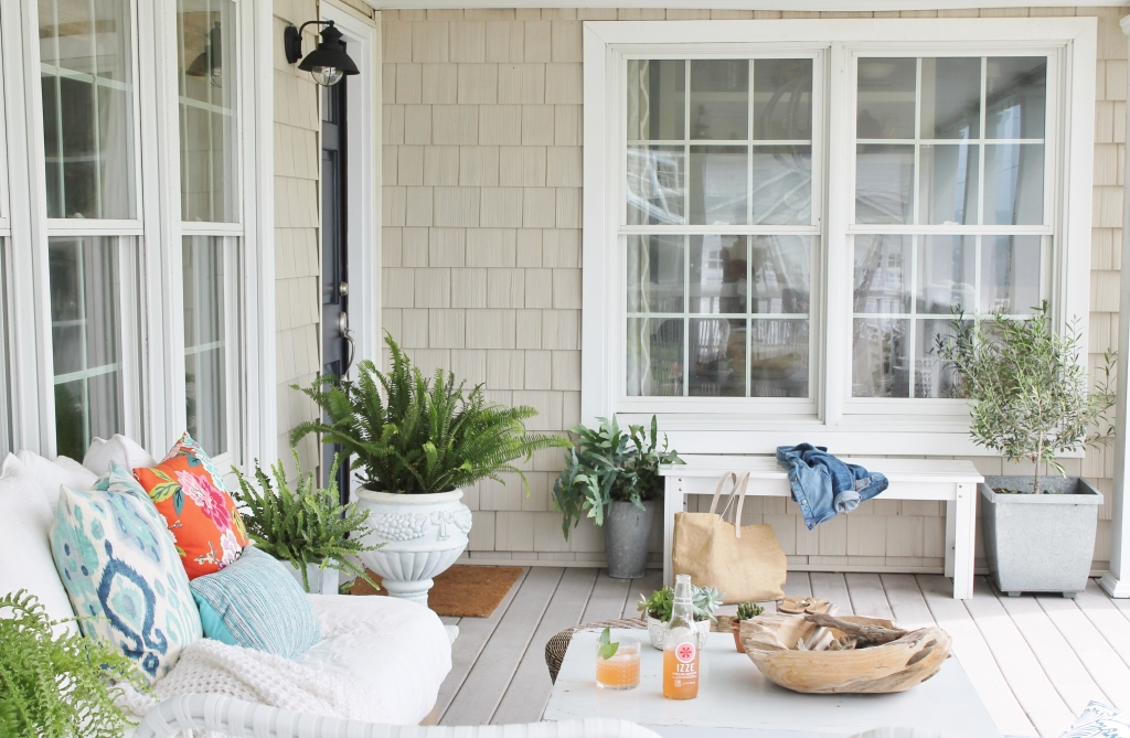 Front Door Makeover-Sherwin-Williams Anchors Aweigh and Mid-Summer Front Porch