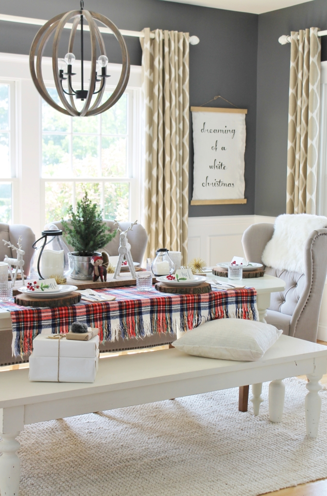 Lowe's Christmas Dining Room. Tartan Tablecloth, Ikat Drapes-West Elm, DIY Art, Wood Chandlier, BM Stormy Sky