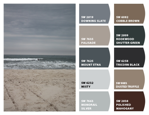 Sherwin-Williams Color Snap-Dowling Slate,Palisade, Mount Etna, Misty, Monorail Silver