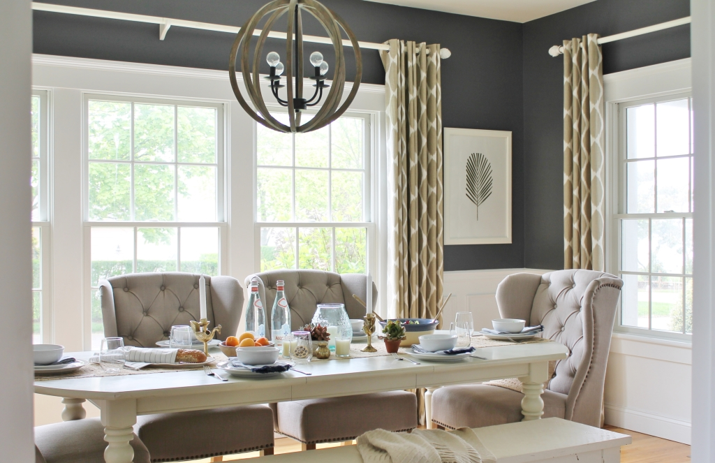 Summer Tour-Dining Room- Linen Tufted Chairs, Ikat Drapes-West Elm, DIY Art, Wood Chandlier, BM Stormy Sky