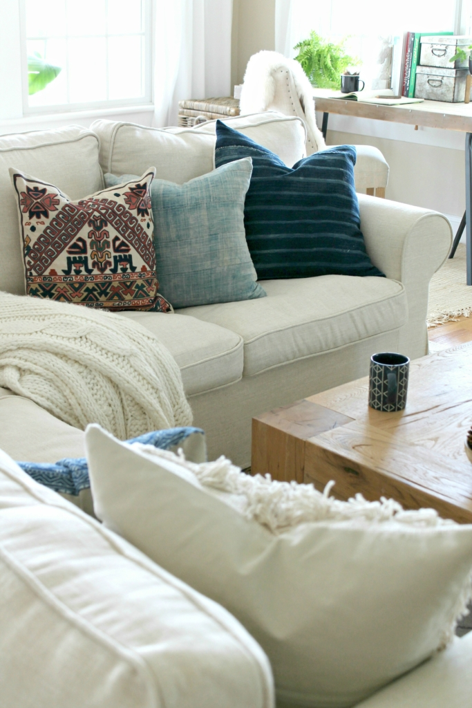 Mini Fall Family Room Makeover-Pillows from Etsy, Pottery Barn and H & M