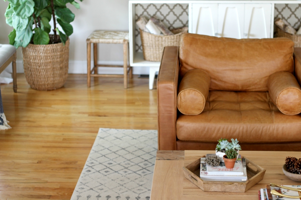 Modern Farmhouse Fall Family Room Tour-Leather Chair by Article