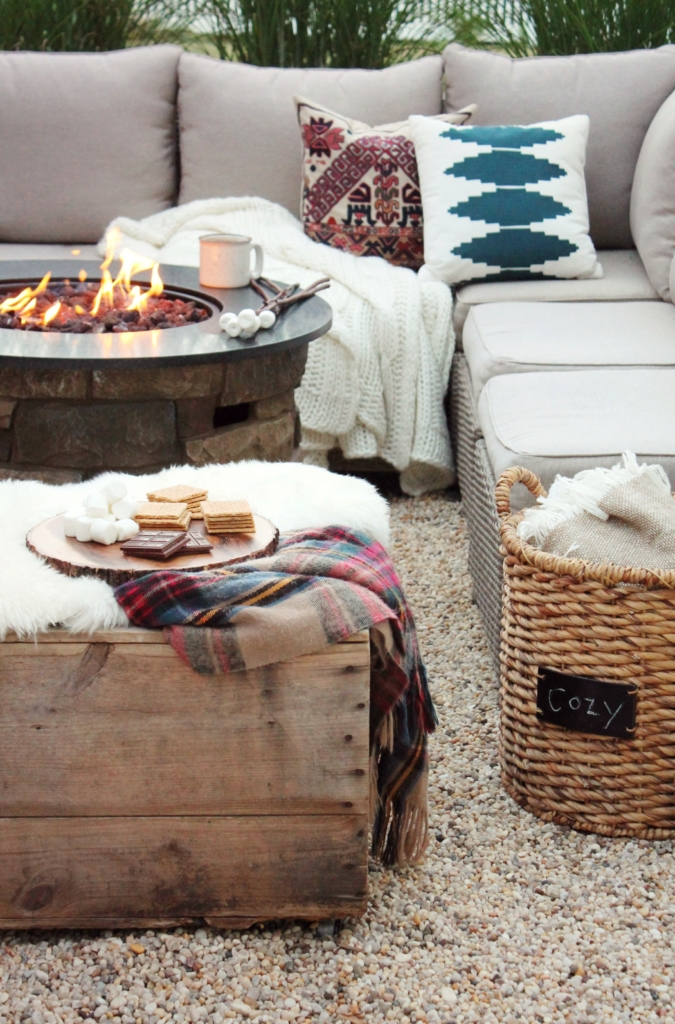 Cozy Fall OUtdoor Space. Target pillows + throws.
