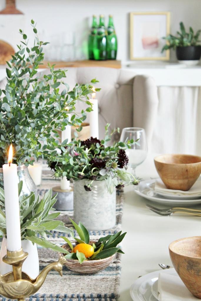 fall tablescape-using sage, eucalyptus + kumquat