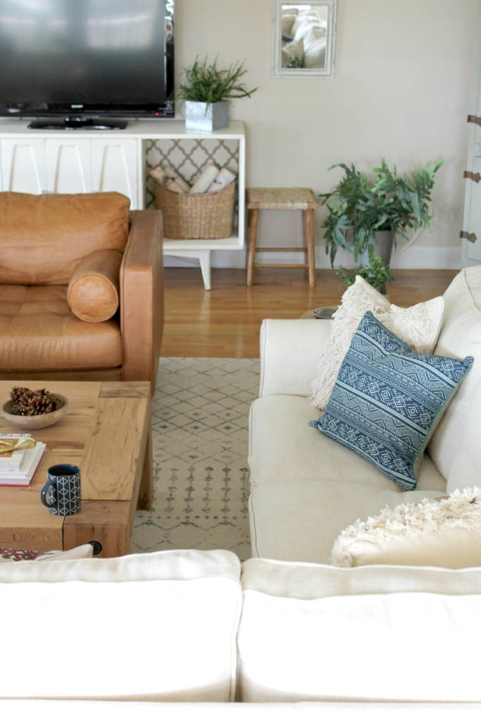 Modern Farmhouse Fall Family Room Tour-Using Neutral Furniture & Accenting With Indigo