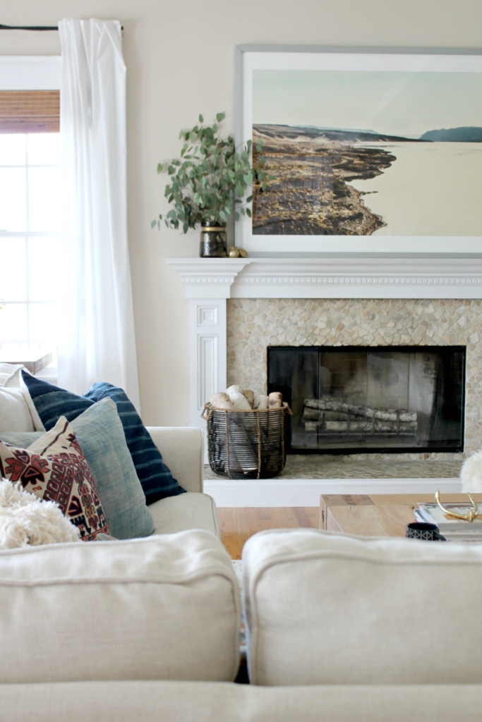 Modern Farmhouse Fall Family Room Tour-Simple Mantle