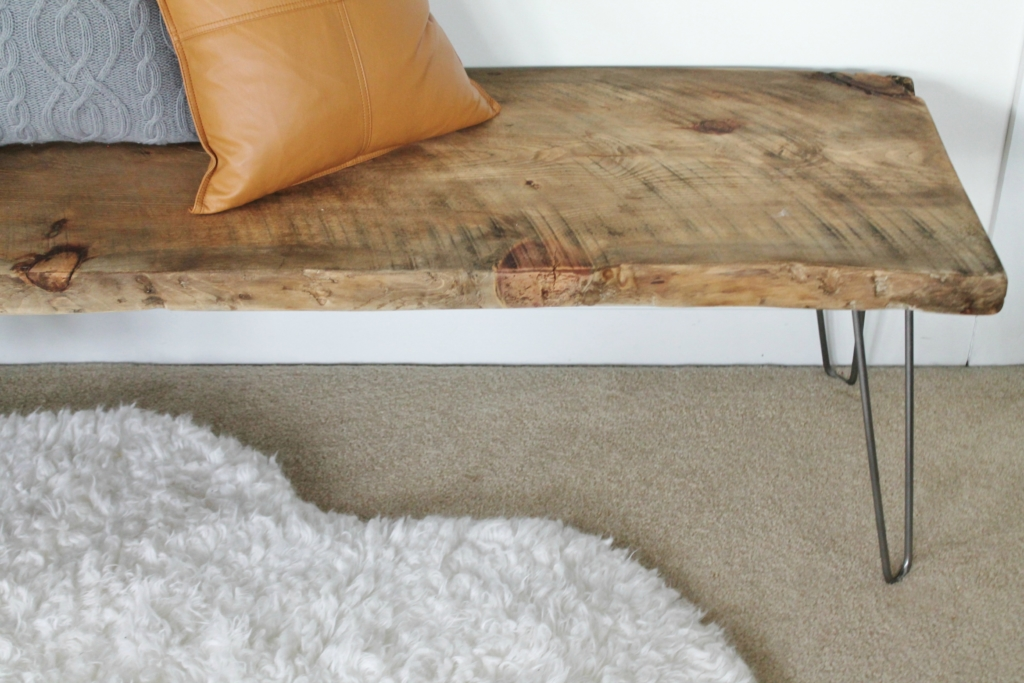 The Easiest DIY LIve Edge Bench With Hair Pins Legs. Mid-Century Modern, Rustic Bedroom Bench