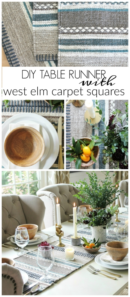DIY Table Runner With West Elm Carpet Squares. Simple Rustic Tablescape With Kilim Runner