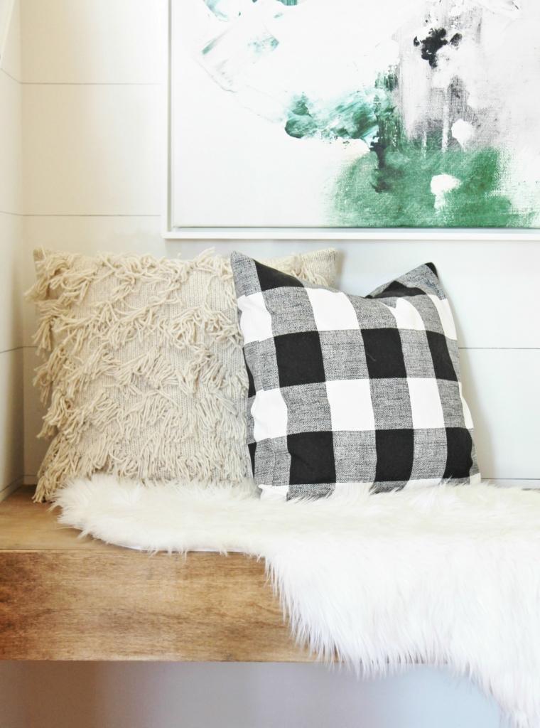 diy-floating-bench-with-abstract-art-buffalo-check-pillows
