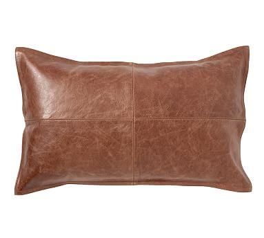 pieced-leather-lumbar-pillow