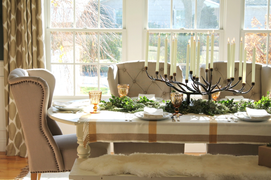City Farmhouse Holiday Dining Room With Birch Lane Wool Throw As Tablecloth