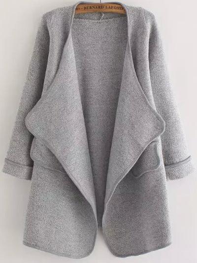 grey-long-sleeve-stitch-pocket-loose-cardigan