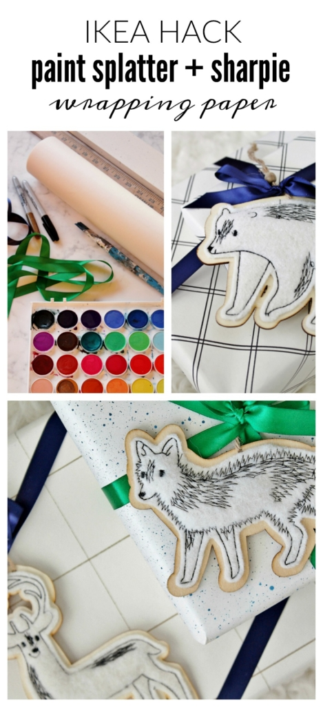 Ikea hack wrapping paper using watercolors + a sharpie. Oh and cute fun ornaments from Target