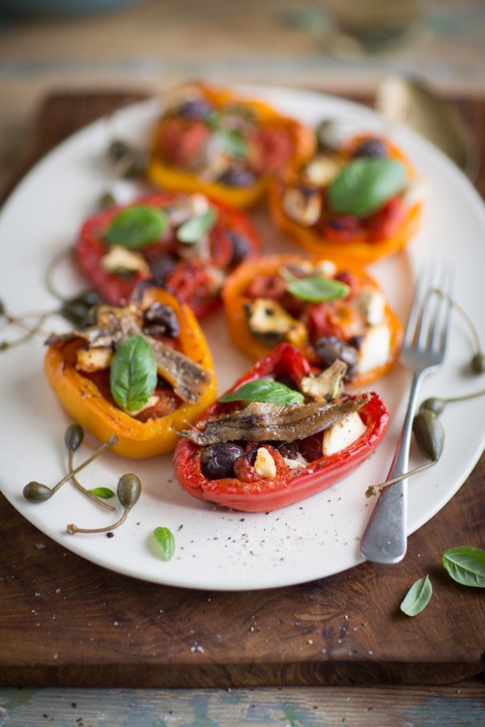 roasted-peppers-stuffed-with-cherry-tomatoes-drizzle-and-dip