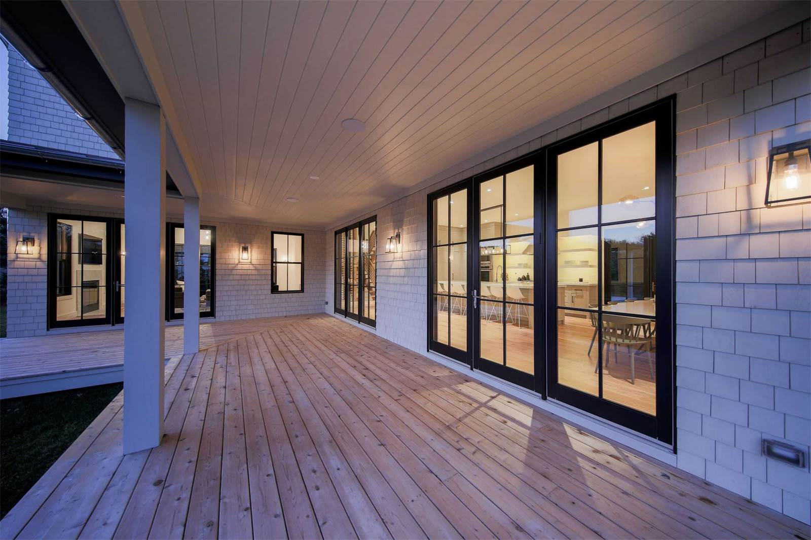 Amagansett Modern Farmhouse Huge Porch Lined With Large