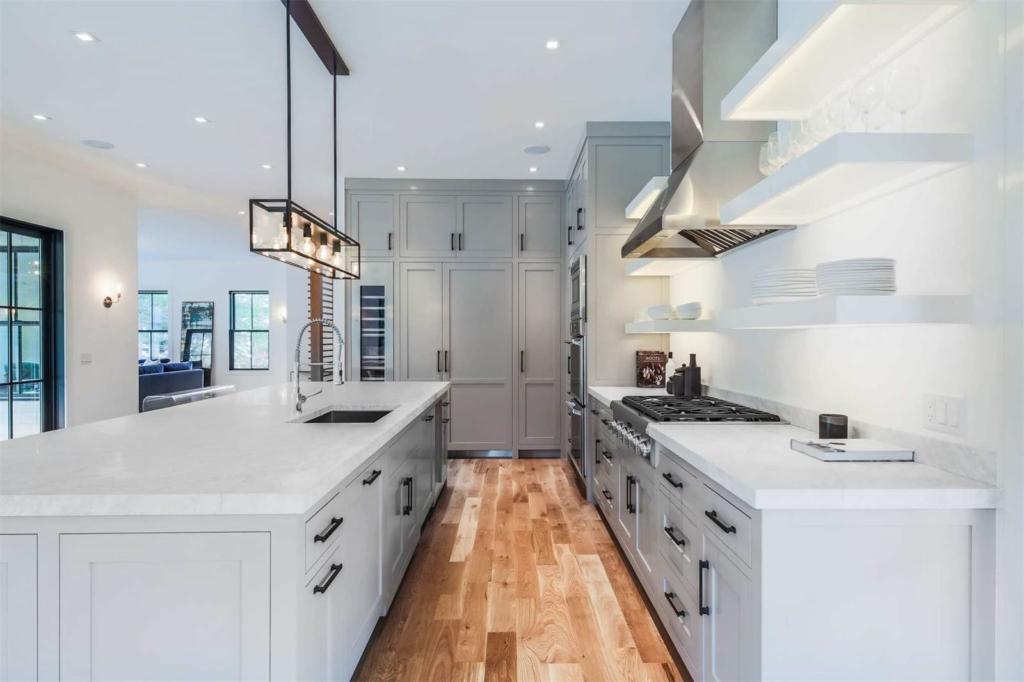 Amagansett modern farmhouse love the warm gray cabinets