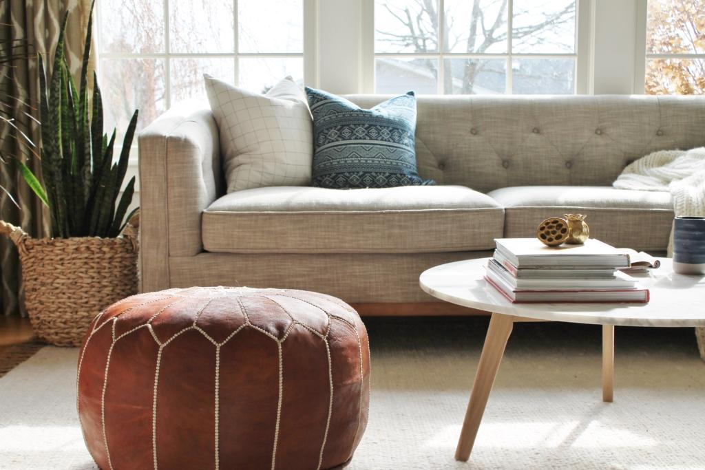 City Farmhouse Den Reveal Pre Paint-Leather Pouf