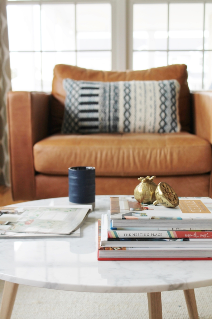 City Farmhouse Den Reveal Pre Paint-Marble Table & Sven Chair