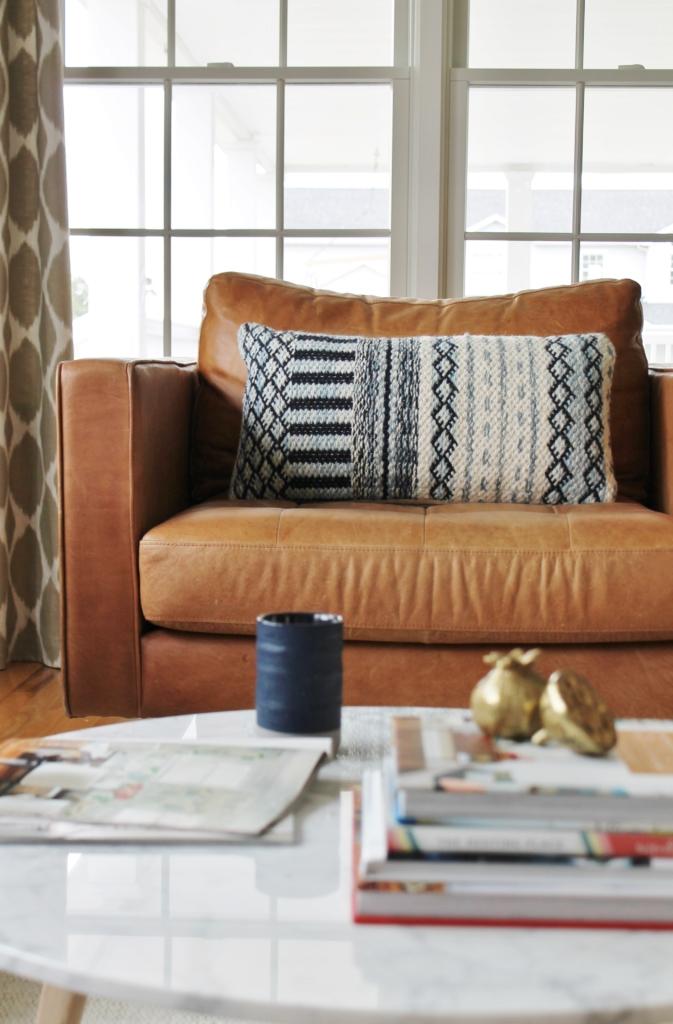 City Farmhouse Den Reveal Pre Paint-Sven Leather Chair with Woven Indigo Pillow