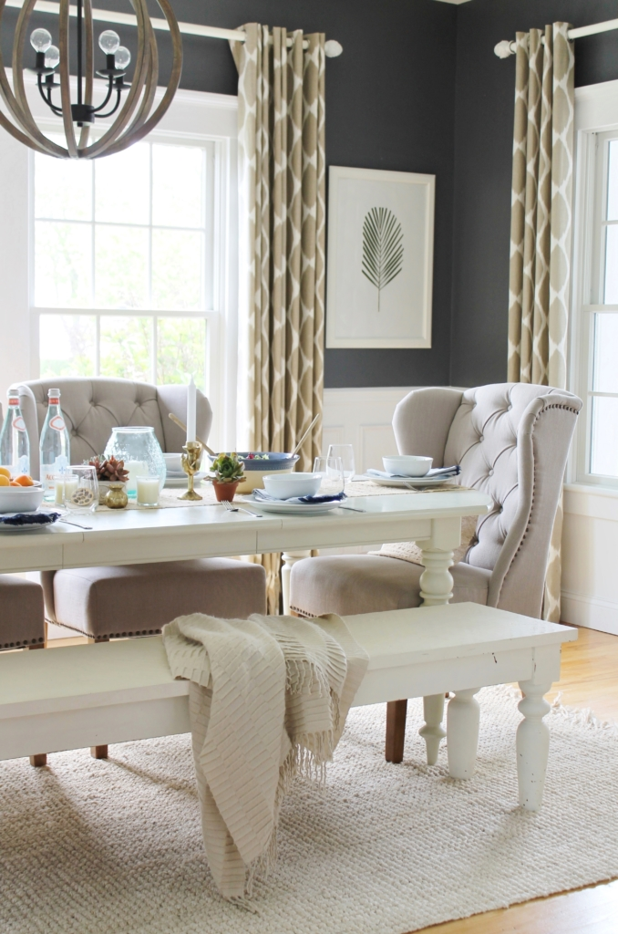 The Full Den Reveal With Pure White Walls on Dining Room Curtains Farmhouse  id=95709