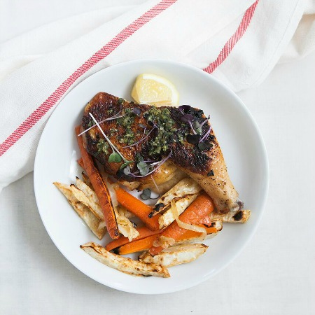 Butterflied Cornish Chicken with Carrot + Celeriac Fries