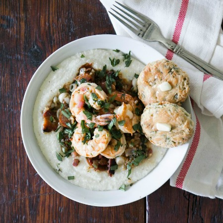 Southern-Inspired Shrimp & Grits with Ramp Biscuits