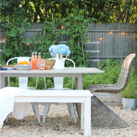 Classic Nantucket Inspired Outdoor Table Makeover + Video